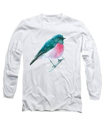 Rose Robin Oil Painting Long Sleeve T-Shirt