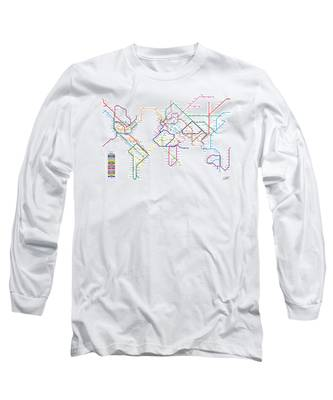 World Metro Tube Subway Map Long Sleeve T-Shirt