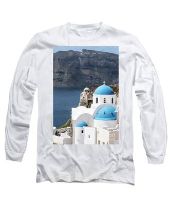 Iconic Santorini Church In Greece Long Sleeve T-Shirt by Didier Marti