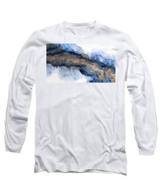 River Of Blue And Gold Abstract Painting Long Sleeve T-Shirt