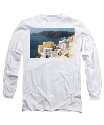 Santorini View In Greece Long Sleeve T-Shirt by Didier Marti