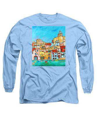 Boats In Front Of The Buildings Vii Long Sleeve T-Shirt