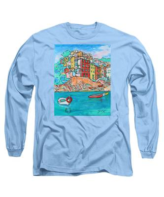 Boats In Front Of The Buildings X Long Sleeve T-Shirt