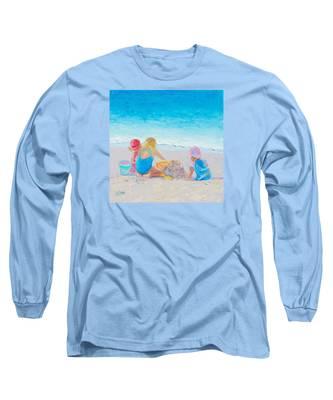 Beach Painting - Building Sandcastles Long Sleeve T-Shirt