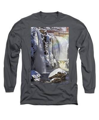 Great Falls And A Rainbow Long Sleeve T-Shirt