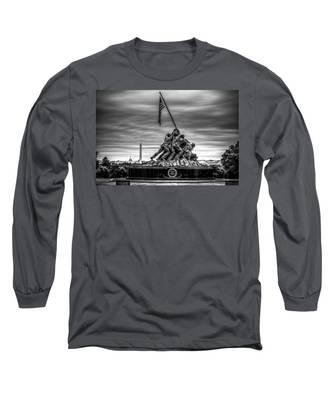 Iwo Jima Monument Black And White Long Sleeve T-Shirt