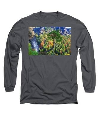 Lonely Tree In The Elbe Sandstone Mountains Long Sleeve T-Shirt