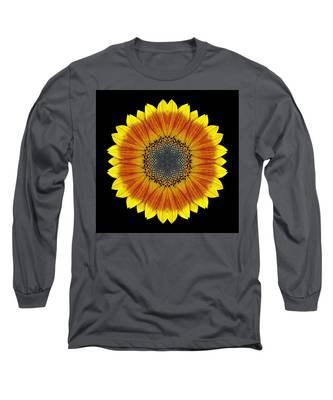 Orange And Yellow Sunflower Flower Mandala Long Sleeve T-Shirt