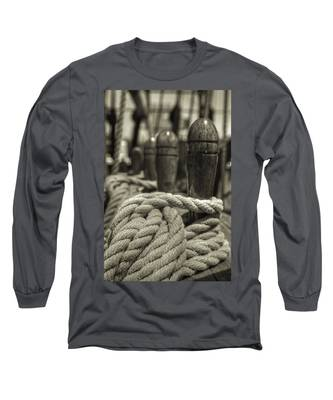 Ready For Work Black And White Sepia Long Sleeve T-Shirt