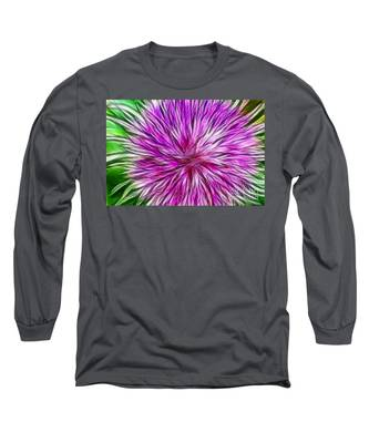 Purple Flower Fractal Long Sleeve T-Shirt