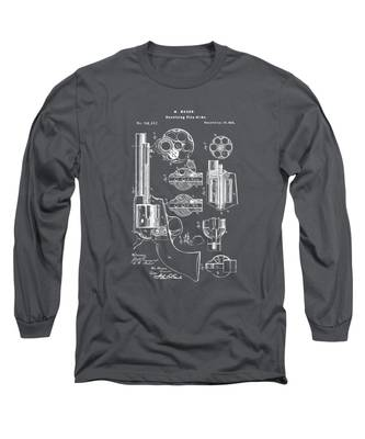 1875 Colt Peacemaker Revolver Patent Artwork - Gray Long Sleeve T-Shirt