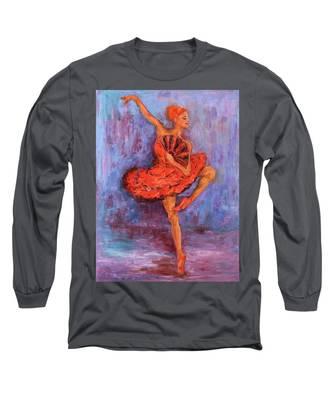 Ballerina Dancing With A Fan Long Sleeve T-Shirt
