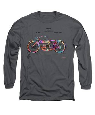 Colorful 1919 Harley-davidson Motorcycle Patent Long Sleeve T-Shirt