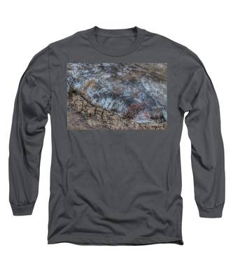 Delaware River Ice With Leaves Long Sleeve T-Shirt