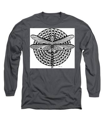 Long Sleeve T-Shirt featuring the drawing Dragonfly by Vicki Winchester