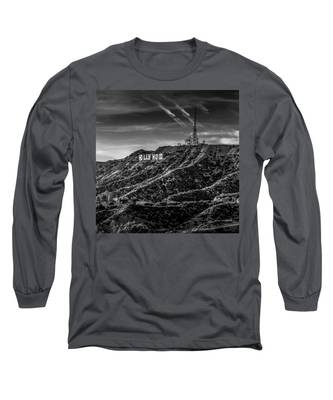 Hollywood Sign - Black And White Long Sleeve T-Shirt