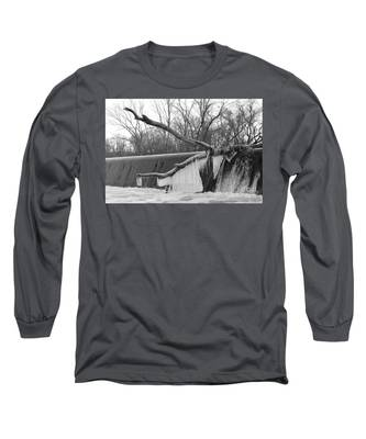 Icicle Laden Branch Over The Waterfall Long Sleeve T-Shirt
