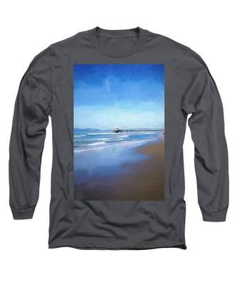 Manhattan Pier Blue Art Long Sleeve T-Shirt
