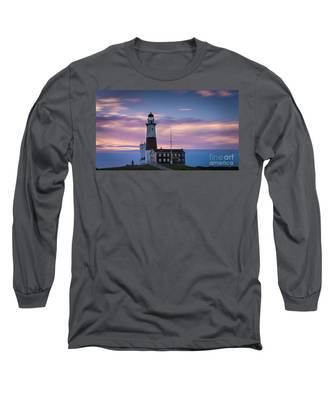 Montauk Lighthousepastel  Sunrise Long Sleeve T-Shirt