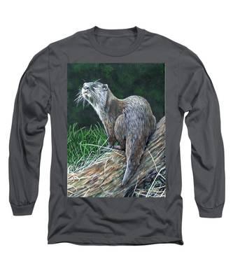 Otter On Branch Long Sleeve T-Shirt