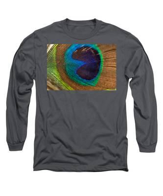 Peacock Feather Macro Detail Long Sleeve T-Shirt