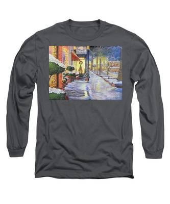 Soft Snowfall In Dahlonega Georgia An Old Fashioned Christmas Long Sleeve T-Shirt