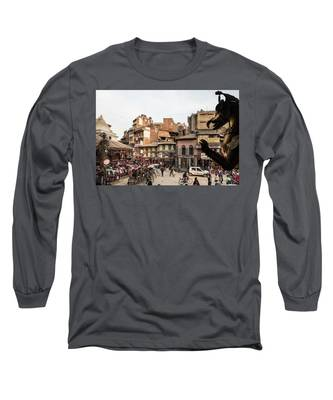 The Busy Indra Chowk Intersection In The Heart Of Kathmandu Old  Long Sleeve T-Shirt by Didier Marti