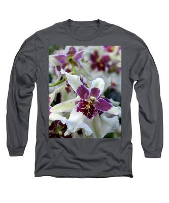 Purple And White Orchid Long Sleeve T-Shirt