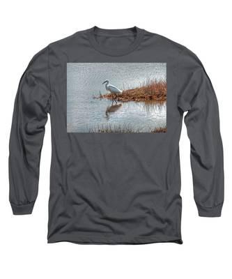 Snowy Egret Hunting A Salt Marsh Long Sleeve T-Shirt