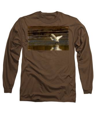 Great Egret Taking Off Long Sleeve T-Shirt