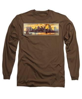 New York City Summer Panorama Long Sleeve T-Shirt
