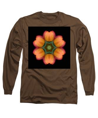 Orange Daylily Flower Mandala Long Sleeve T-Shirt