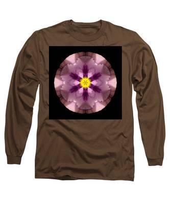 Pink And Purple Pansy Flower Mandala Long Sleeve T-Shirt