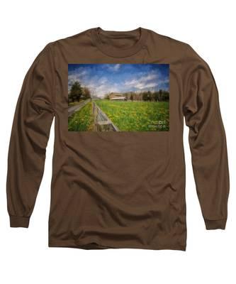 Stone Barn On A Spring Morning Long Sleeve T-Shirt