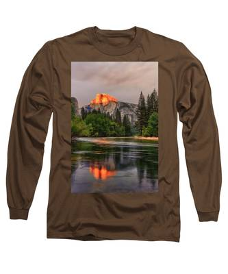 Golden Light On Halfdome Long Sleeve T-Shirt