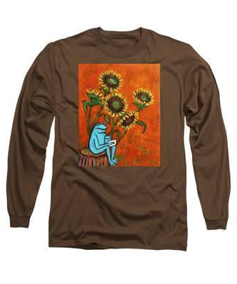 Frog I Padding Amongst Sunflowers Long Sleeve T-Shirt