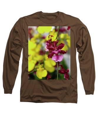 Maroon And Yellow Orchid Long Sleeve T-Shirt