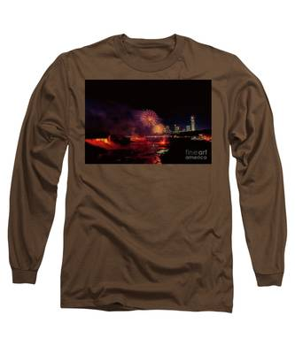 Fireworks Over The Falls. Long Sleeve T-Shirt