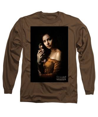 Woman With Orchid Long Sleeve T-Shirt