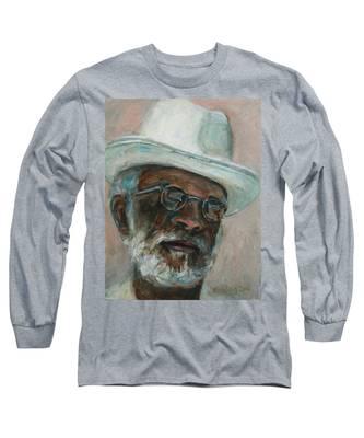 Gray Beard Under White Hat Long Sleeve T-Shirt