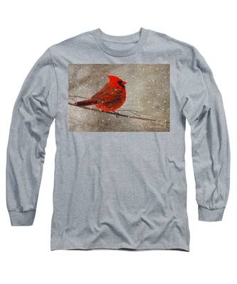 Cardinal In Snow Long Sleeve T-Shirt