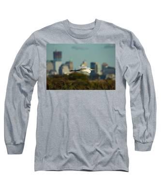Flight Of The Great Egret Long Sleeve T-Shirt