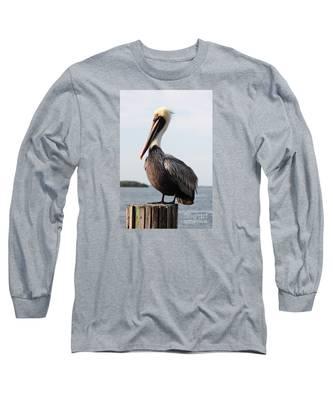 Handsome Brown Pelican Long Sleeve T-Shirt