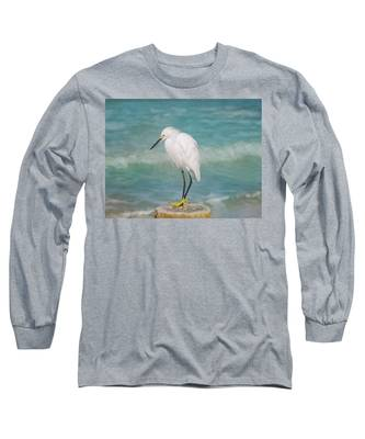 One With Nature - Snowy Egret Long Sleeve T-Shirt