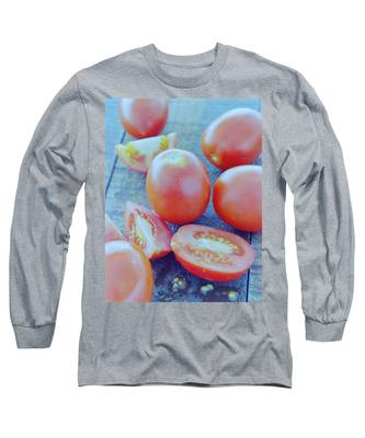 Plum Tomatoes On A Wooden Board Long Sleeve T-Shirt