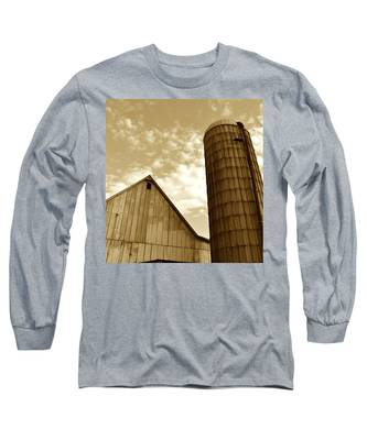 Barn And Silo In Sepia Long Sleeve T-Shirt