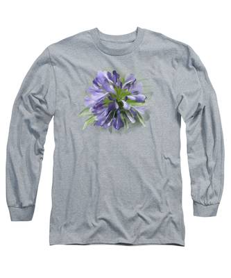 Blue Purple Flowers Long Sleeve T-Shirt
