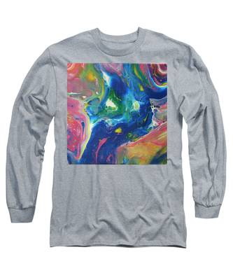 Long Sleeve T-Shirt featuring the painting Cosmic Rainbow by Vicki Winchester