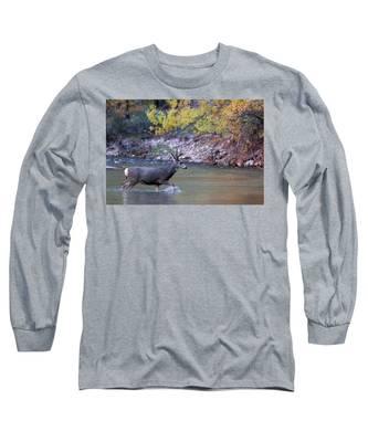 Deer Crossing River Long Sleeve T-Shirt