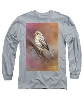Female Sparrow On Branch Ginkelmier Inspired Long Sleeve T-Shirt